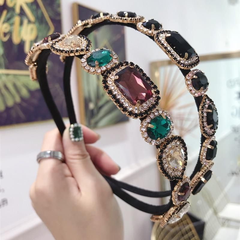 New hair accessories rhinestone super flash alloy color diamond fine side hair band ladies hair accessories NHSM175253