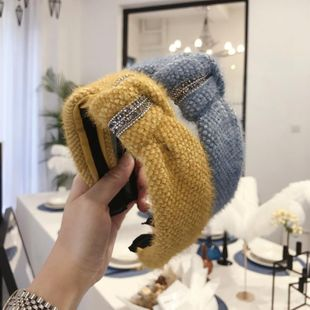 New hair accessories knitted plush knotted knotted diamond wide-brimmed headband ladies NHSM175232's discount tags