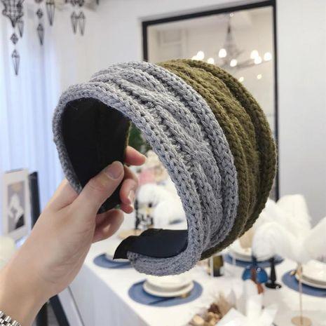 New hair accessories wool woven twist ultra wide side light board headband female NHSM175235's discount tags