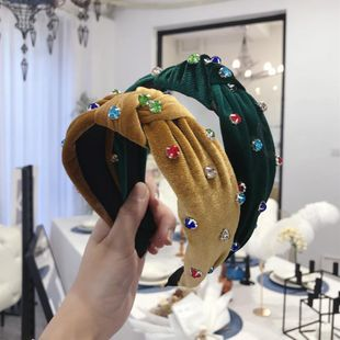 New hair accessories gold velvet nail rhinestone color knotted twist knot wide side headband NHSM175241's discount tags
