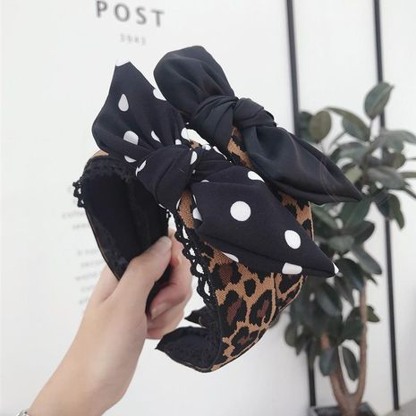 New hair accessories hollow lace leopard ripple point bow wide-brimmed headband female NHSM175248's discount tags