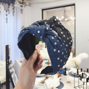 New hair accessories denim fabric hot drilling super flash knot knotting wide-brimmed headband female NHSM175237's discount tags