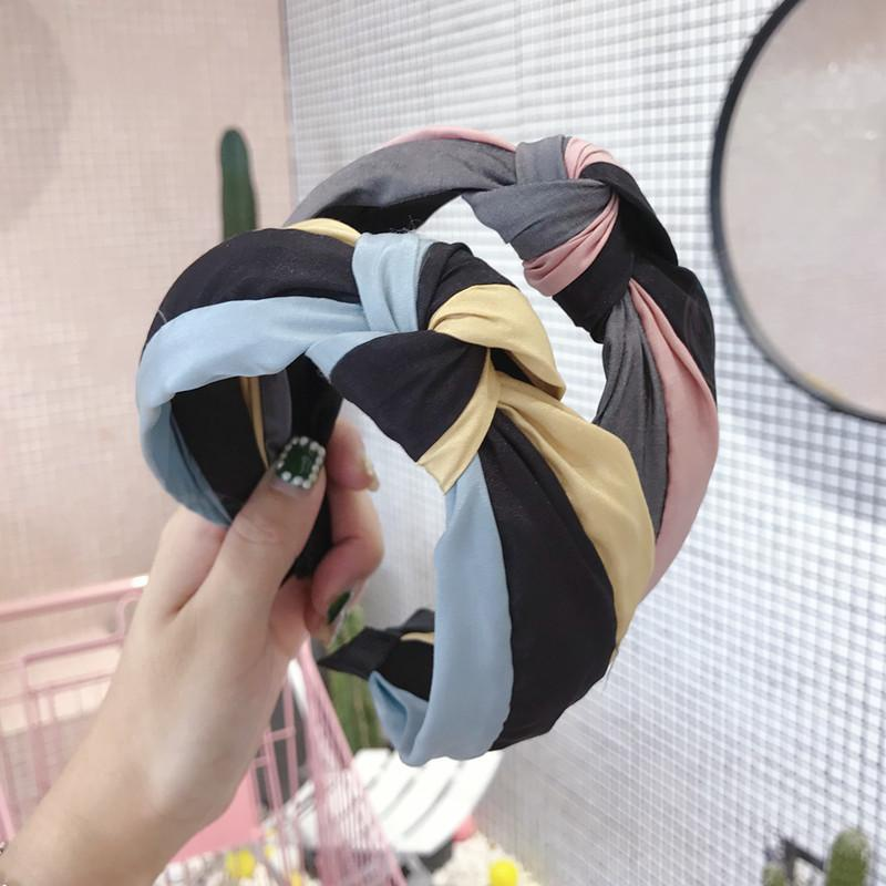New hair accessories rainbow contrast color stitching knotted knot wide side headband ladies headwear NHSM175249