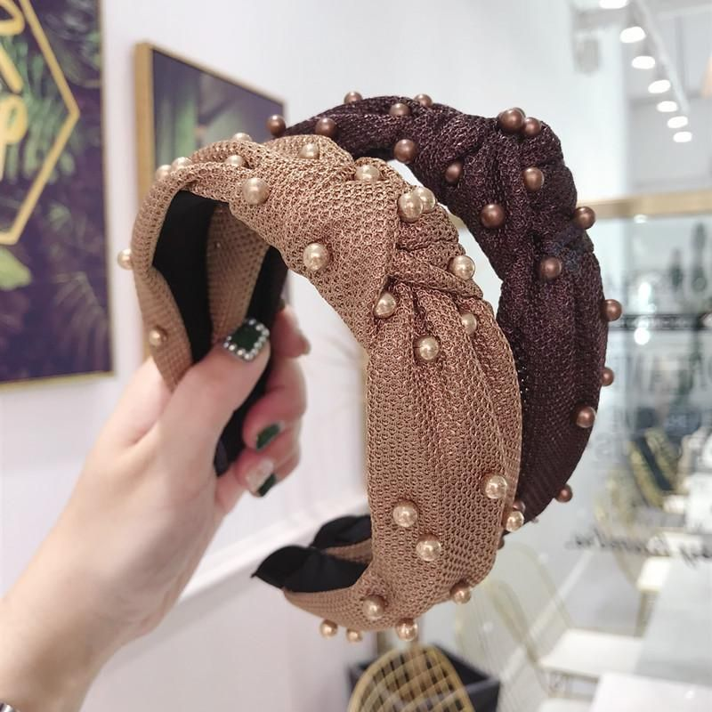 New high-end hair accessories mesh plaid fabric bead knotted wide-brimmed headband ladies NHSM175255