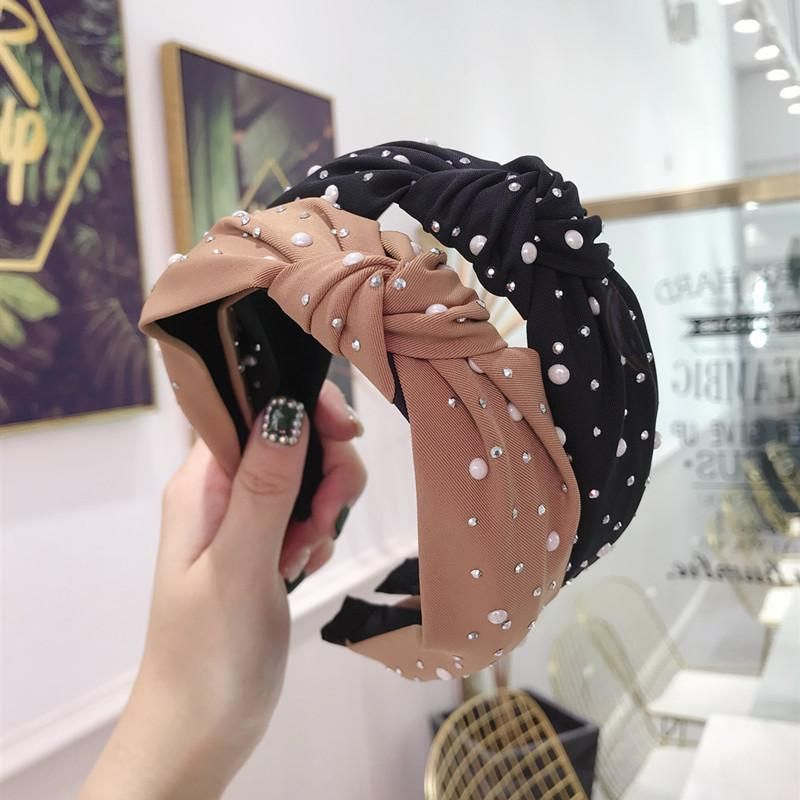 New hair accessories solid color hot drilling pearl knotted twist knot wide-brimmed headband female NHSM175257