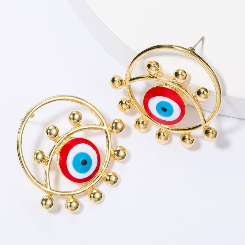 Round alloy oil drop eye earrings female retro creative earrings NHJE175286
