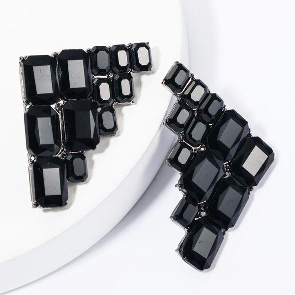 Alloy Glass Drilling Diamond Right Angle Geometric Earrings Women's Vintage Full Diamond Eye Studs NHJE175288