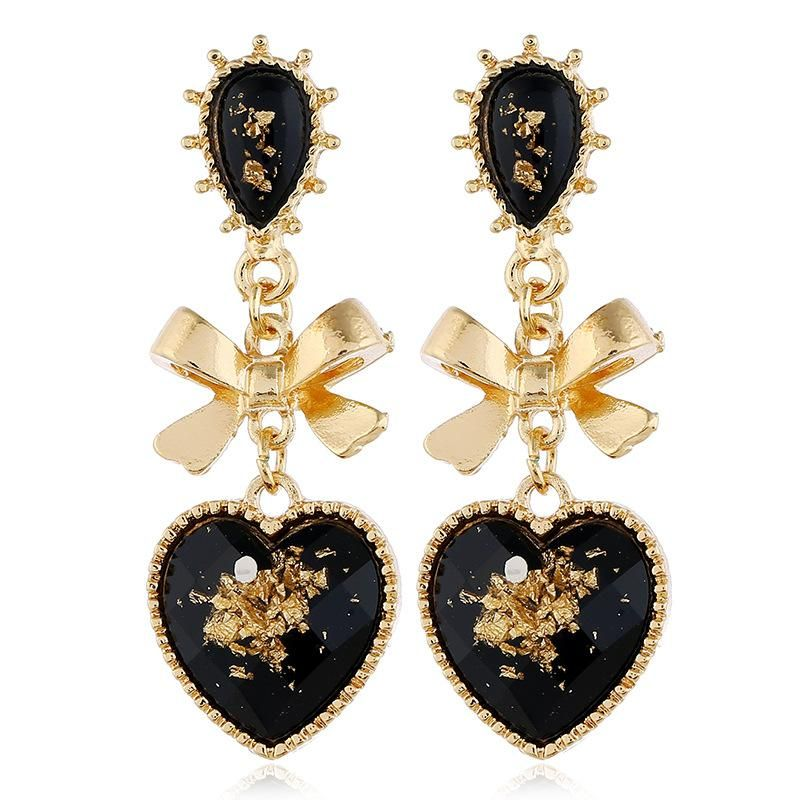 Fashion retro simple love heart-shaped earrings fresh insect earrings female NHVA175479