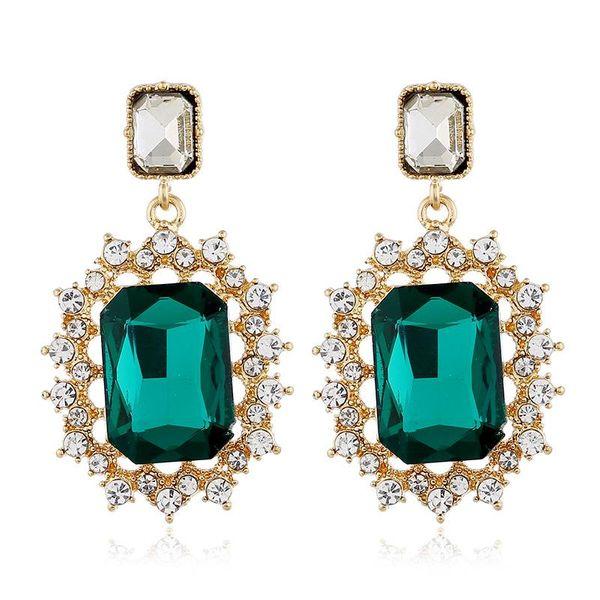 Simple fashion earrings full of diamond earrings female square zircon earrings NHVA175502