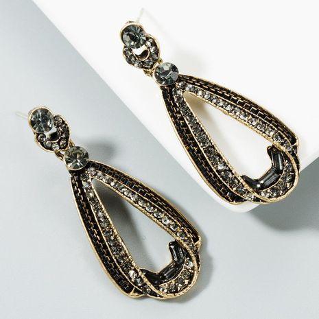 S925 silver fashion retro drop-shaped long earrings female alloy rhinestone ear clip NHLN175533's discount tags