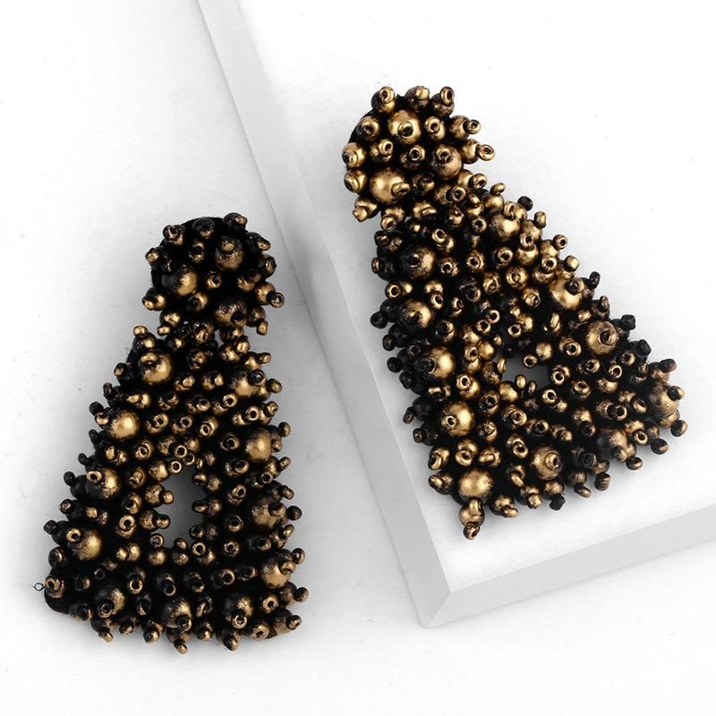 New metallic beige beads earrings earrings female NHAS175387