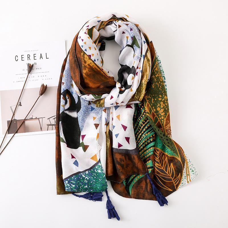 Indian penguin pattern cotton and linen travel sunscreen beach towel NHGD175773