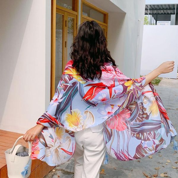 Beach towel spring and autumn shawl beach cotton air conditioning dual-use shawl NHTZ175696