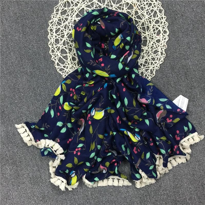 Vintage ethnic style female cotton print bird print tassel scarf NHGD175787