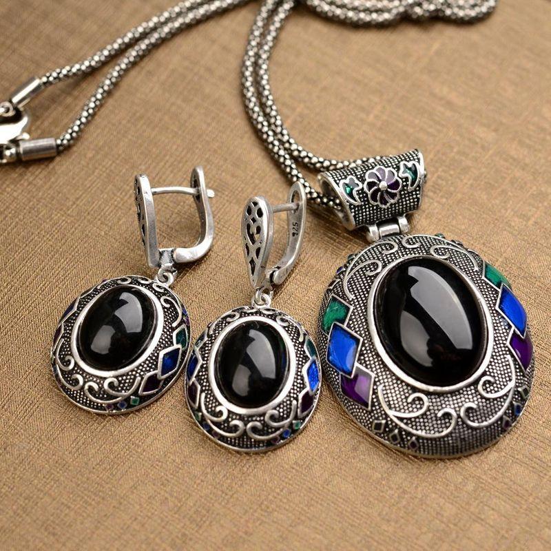 European and American fashion temperament necklace retro national style pattern diamond jewelry set NHLJ175851