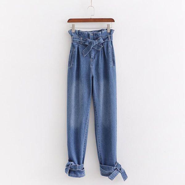 Paper bag pants ruffled high waist leggings jeans NHAM175628