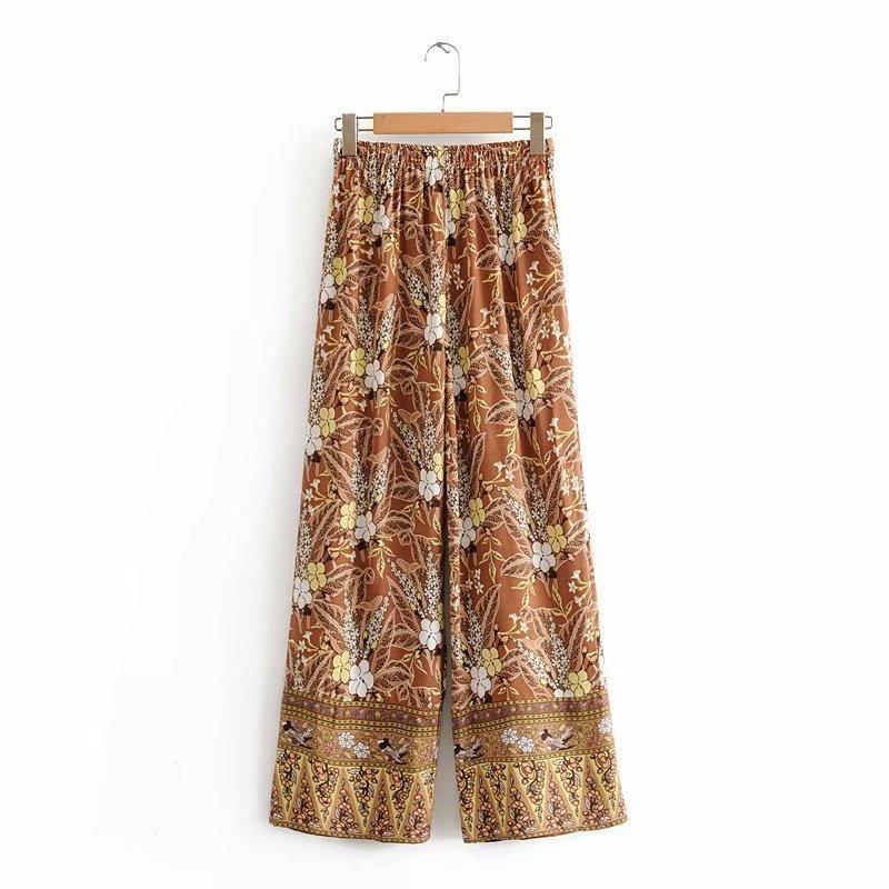 Straight pants autumn cockscomb positioning print wide leg pants NHAM175579