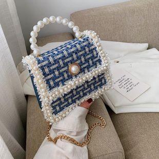 Bolso cuadrado pequeño Crossbody de cadena artesanal de perlas NHPB175853's discount tags