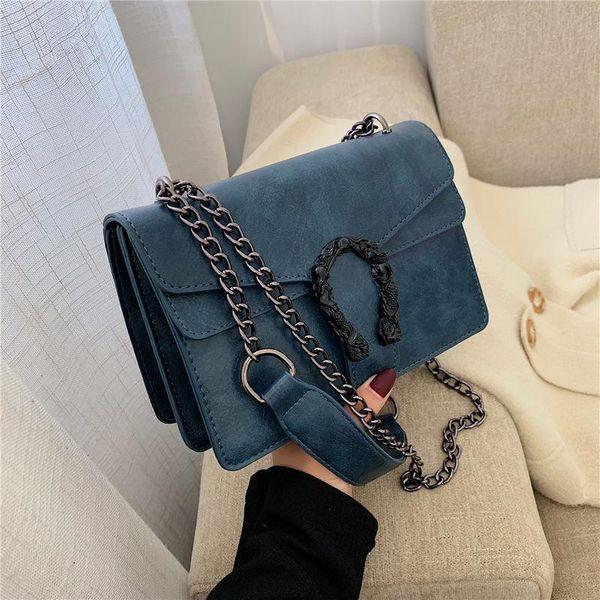 One-shoulder diagonal bag fashion wild chain small square bag female lock NHPB175799