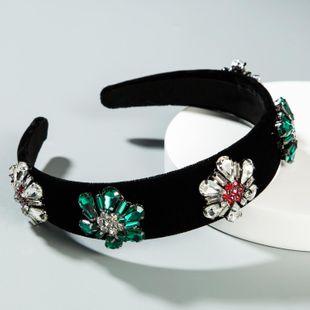Diadema Barroco de lujo con incrustaciones de diamantes de imitación diadema de vidrio pasarela femenina simple flor de sol tela de terciopelo dorado NHLN175574's discount tags