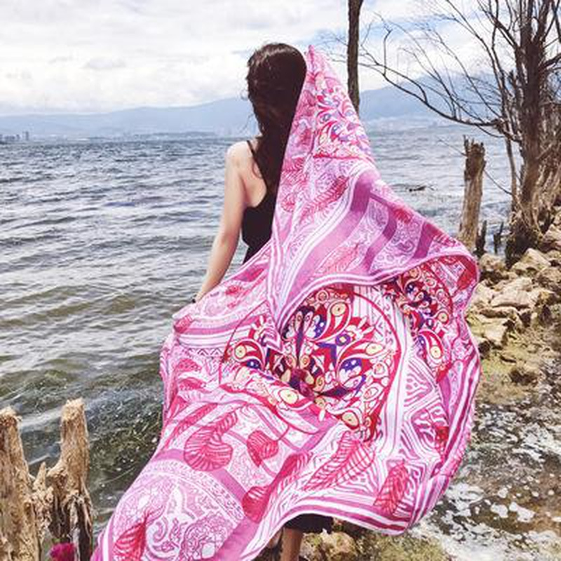National style printing long cotton and linen scarf summer sunscreen air conditioning shawl seaside NHTZ175709