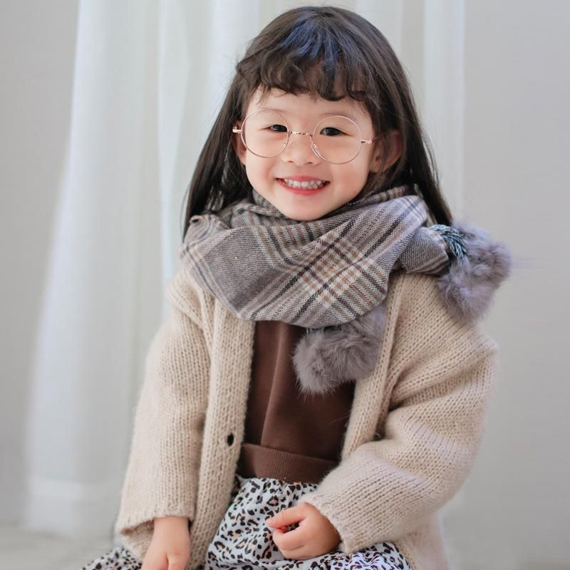 Scarf Plaid Hanging Ball Boys and Girls Imitation Cashmere Scarf Baby Shawl Bib NHTZ175669
