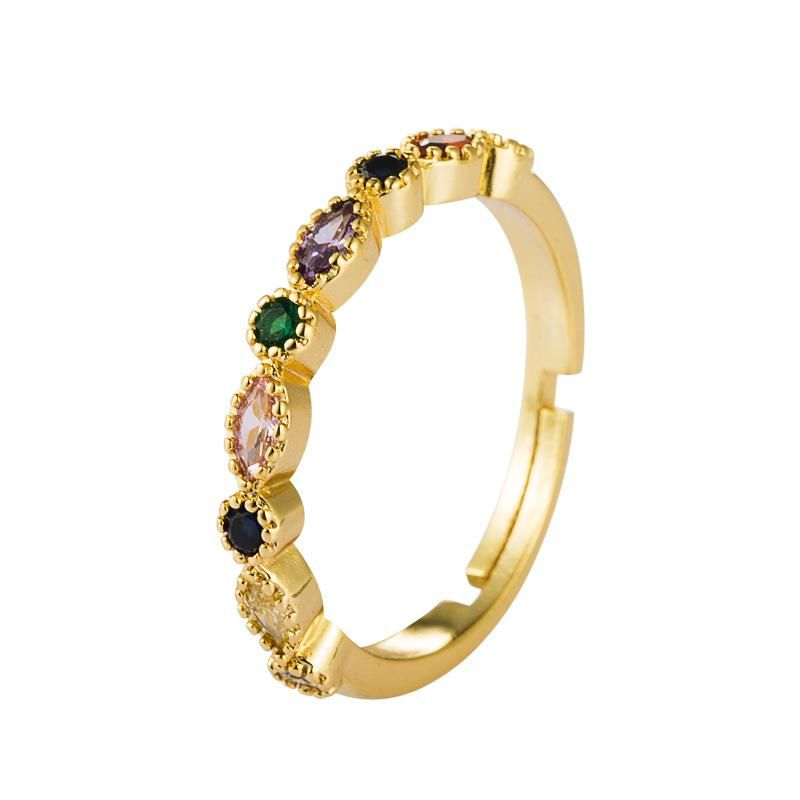 Micro-inlaid zircon rainbow ring female ins wind copper plated 18K gold open ring NHLN175561