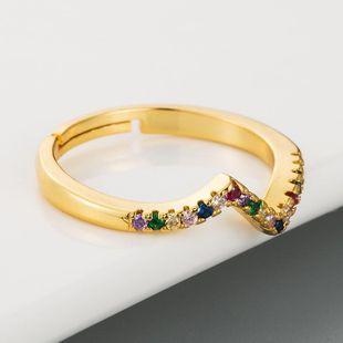 Anillo ondulado Cobre irregular femenino con anillos de circón de colores Anillo arcoiris NHLN175563's discount tags