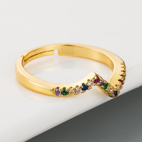 Wavy Ring Female Irregular Copper with Colored Zircon Rings Rainbow Ring NHLN175563's discount tags