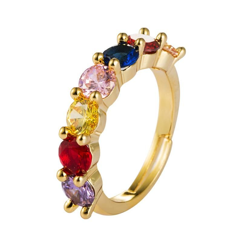 Zircon ring female copper 18K gold micro-inlaid jewelry rainbow couple ring open ring NHLN175565