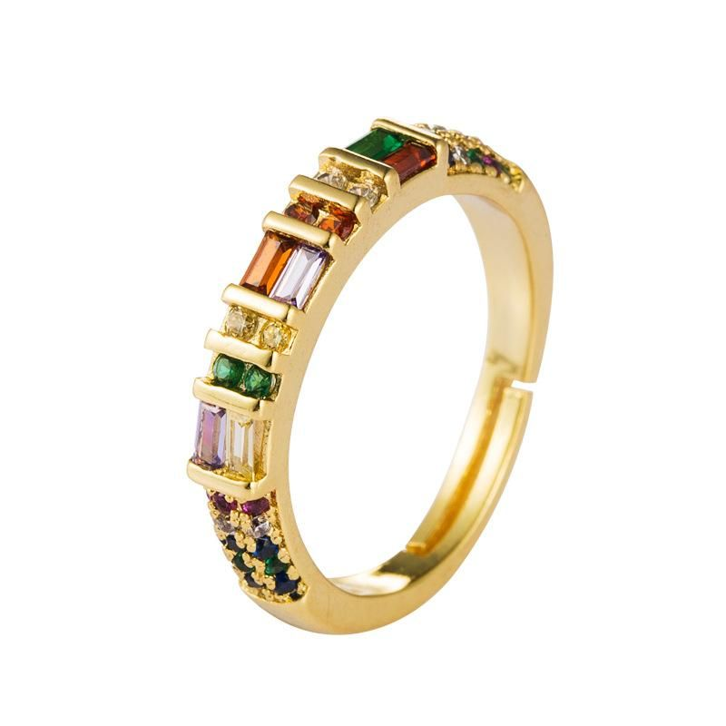 Copper micro-set color zircon ring male hip-hop ins rainbow ring NHLN175566