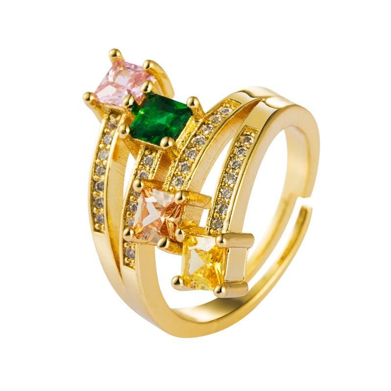Micro-inlaid zircon rainbow ring fashion influx men and women ins copper plated 18K ring NHLN175567
