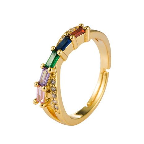 Europe and America creative geometric micro-inlaid rainbow zircon ring copper plated 18k gold hip-hop wind ring NHLN175568's discount tags