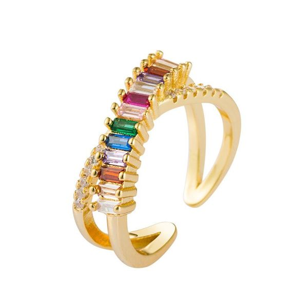 Open geometry cross ring European and American fashion copper micro-set color zircon ring female NHLN175569