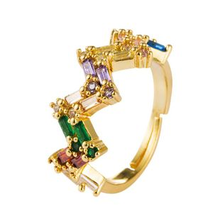 Explosión transfronteriza joyas en Europa y América anillo micro-set hembra color circón 18k cobre creativo anillo de ajuste de apertura NHLN175570's discount tags