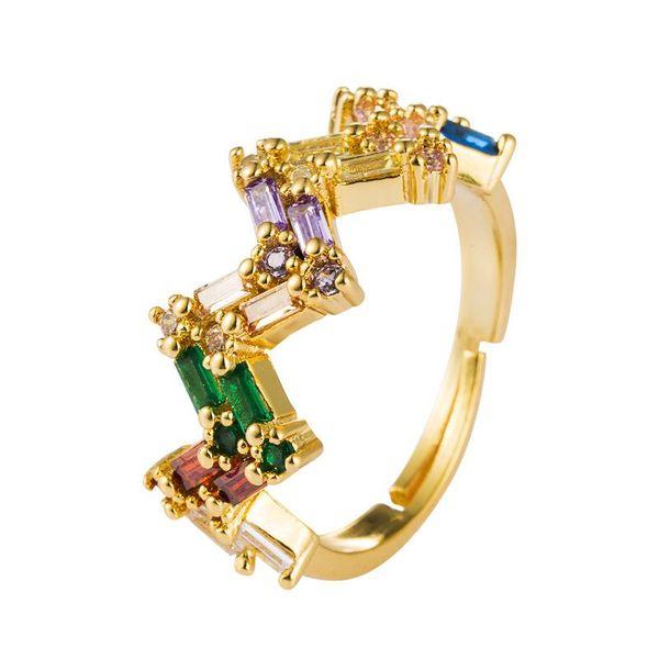 Explosión transfronteriza joyas en Europa y América anillo micro-set hembra color circón 18k cobre creativo anillo de ajuste de apertura NHLN175570