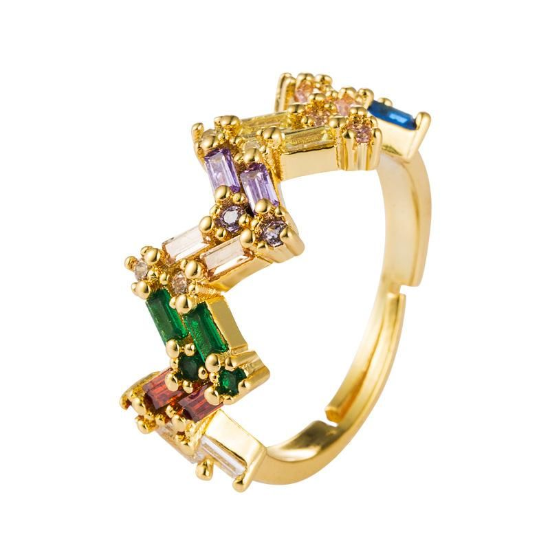 Cross-border explosion jewelry ins Europe and America ring female micro-set color zircon 18k copper creative opening adjustment ring NHLN175570
