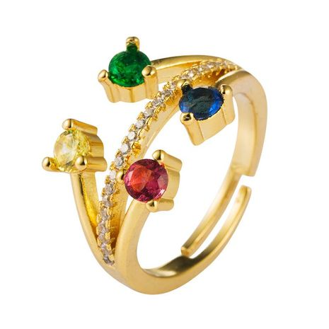European and American popular creative ring female copper inlaid color zircon opening ring NHLN175571's discount tags
