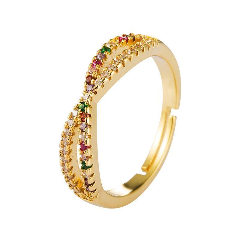Ring brass plated 18K gold microset zircon ring NHLN175572