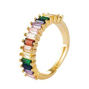 Anillo chapado en cobre con incrustaciones de oro de 18 quilates con anillo de circonita macho apertura del anillo del arco iris NHLN175575's discount tags
