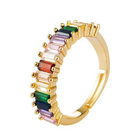 Copper plated 18K gold inlaid colored zircon ring male rainbow ring opening NHLN175575's discount tags