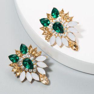 Earrings female atmosphere earrings fashion European fine alloy tree leaves glass diamond flower earrings NHLN175548's discount tags