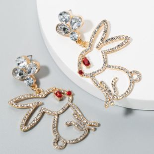 Aretes de aleación de diamantes aretes de conejo hueco niña corazón lindo animal pendientes creativos NHLN175549's discount tags