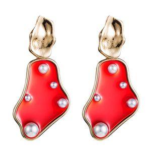 Aretes de moda Pendientes geométricos irregulares lindos Pendientes de perlas de imitación de aleación simple para mujer NHLN175550's discount tags