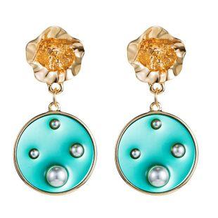 Coloridos pendientes transparentes pendientes de perlas geométricas exageradas pendientes de flores femeninas NHLN175552's discount tags
