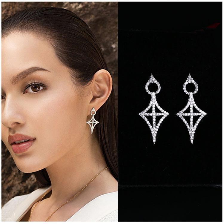 Hollow earrings earrings European and American style cross zircon pendant earrings NHLJ175842