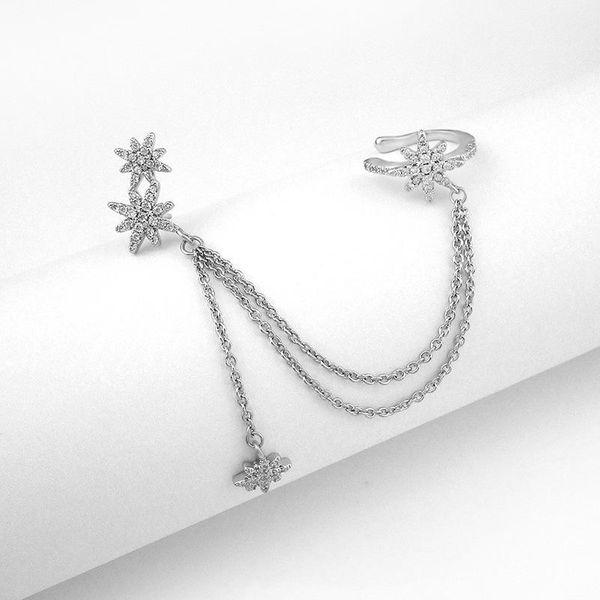 Single earrings full of stars, ear bone clips, long chains, small tassels, earrings, earrings NHLJ175841