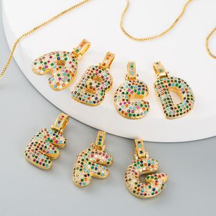 Collar cadena de clavícula hembra cobre micro-set color zircon carta collar hembra NHLN175564's discount tags