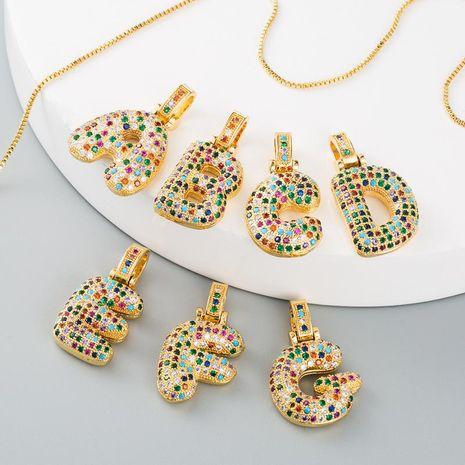 Necklace female clavicle chain copper micro-set color zircon letter necklace female NHLN175564's discount tags