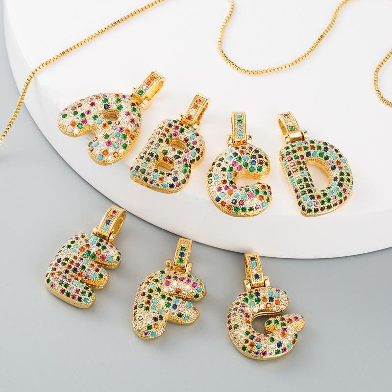 Necklace female clavicle chain copper micro-set color zircon letter necklace female NHLN175564